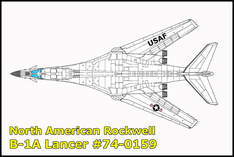 This prototype B-1A #74-0159 crashed on August 29, 1984 northeast of Kramer Junction. The accident happened during a test flight for the B-1B program from Edwards Air Froce Base. Druing the flight, failure to manually transfer fuel caused the center of gravity limits to be exceeded when the wings were swept forward.