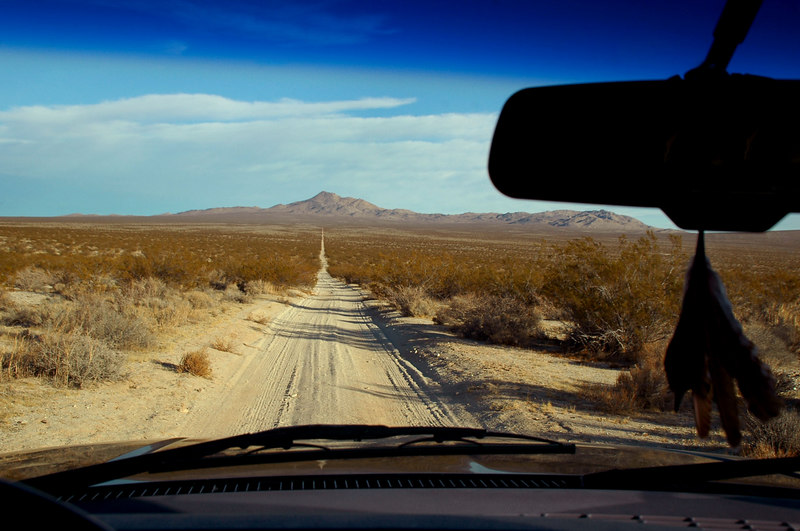 The drive was on dirt roads from Hwy 395 to reach the carsh site.