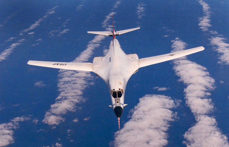 Rockwell International B-1A #74-0159 during the B-1B flight test program. (U.S. Air Force photo) THE END