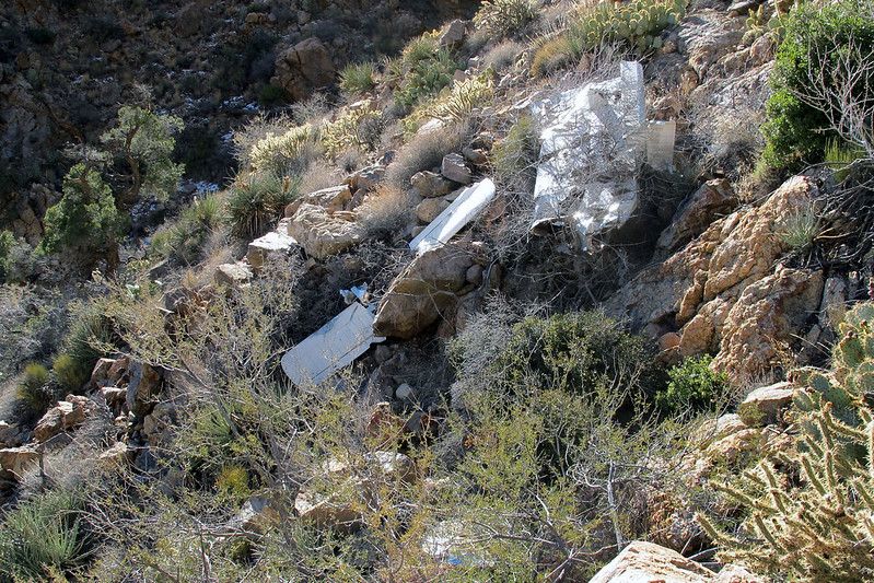 Before heading out, tried to get an overall view of the crash site, but due to the terrain had to do it in two photos. This is the upper section with the right wing and horizontal stabs.