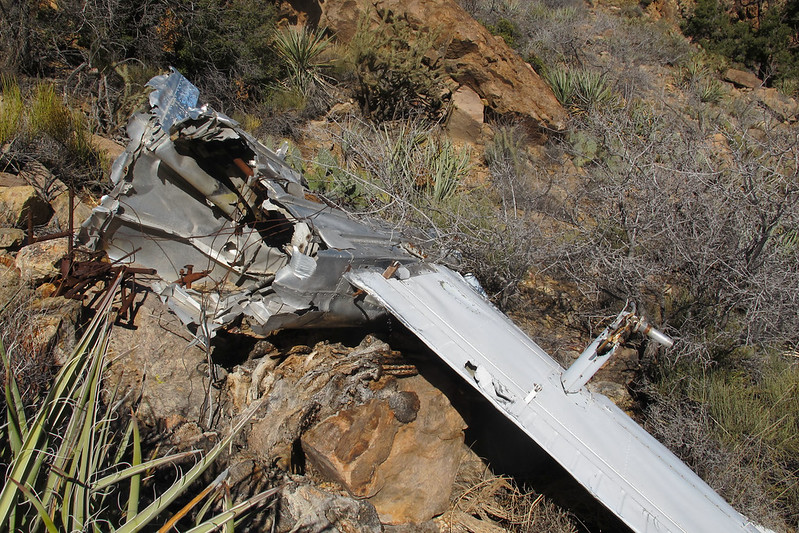 A large piece of the fuselage was attached to the left wing.