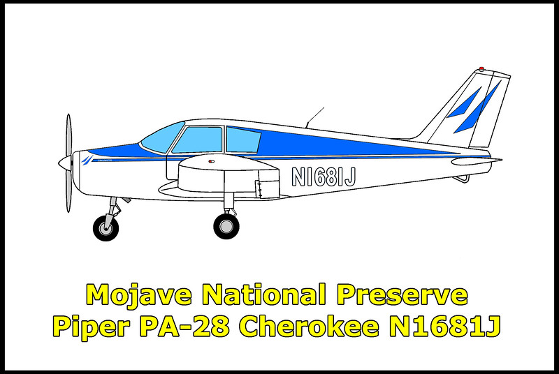 On 4/17/88 the Piper PA-28-140 Cherokee N1681J went missing while on a flight from Bullhead City, Arizona to Whiteman Airport in Pacoima, California. After an eight day search that covered 8,000 square miles, the Civil Air Patrol located the plane in the Providence Mountains in a box canyon. The pilot and his wife were killed in the accident.