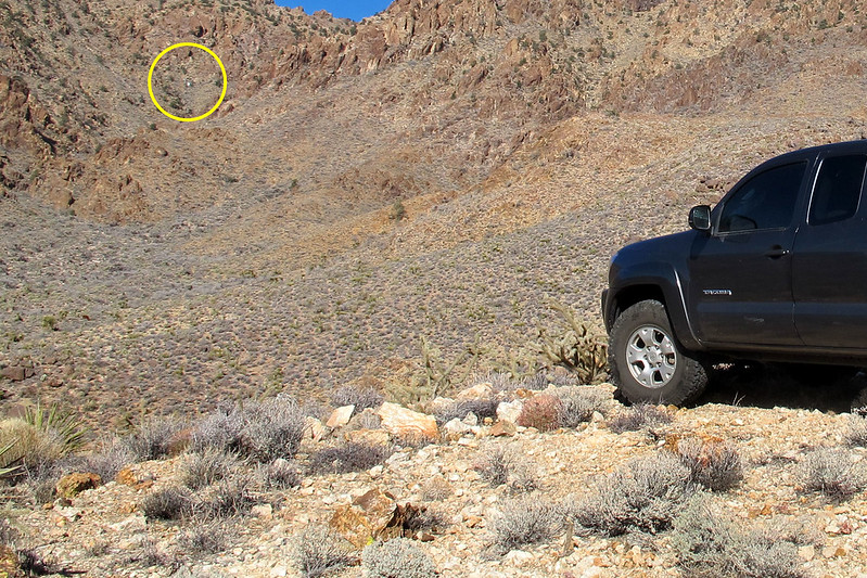 After driving to a few different areas, I was able to spot the crash site. In my past two attempts never drove into this area. From here the site is only a mile away and about 1000 feet up in the canyon.