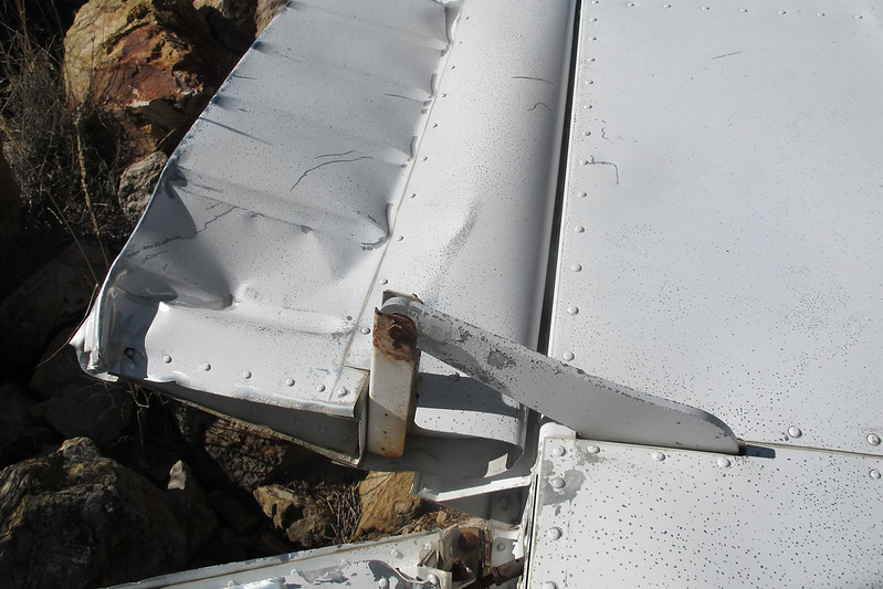 Close up of one of the flap hinges.