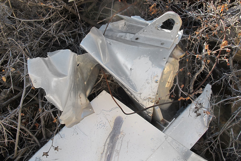 The fuselage tail cone with the tie down. This was the last part from the fuselage I found at the site. No sign of the rest of the fuselage or engine.