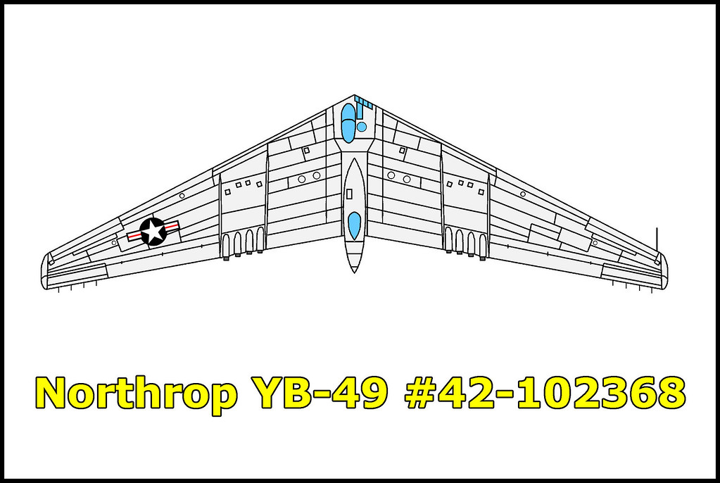 The Northrop YB-49 #42-102368 crashed on June 5, 1948 just north of Muroc Army Air Field (now Ewards AFB). The cause of the crash is unknown. What is known is that something cause inflight structural failure in which both of the outer wing sections were broken off. The aircraft impacted inverted killing the five men onboard.<br /> <br /> #42-102368 was the second YB-49 manufactured and it accumulated almost 57 hours of flight time during its 25 flights.