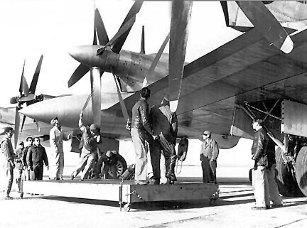 The XB-35 was powered by four Pratt-Whitney R-4360 engines. Each engine drove a pair of counter rotating four bladed propellers by means of a long shaft and a complex gearbox. Mechanical problems were constantly plaguing the propellers and drive system. Driveshaft vibration and prop feathering issues all played a part in further delaying the project. On 6/1/45 the orders for the XB-35s were cut and two of the XB-35's became the building blocks for the YB-49.