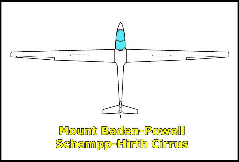 On 10/9/71, while on a flight out of Adelanto, California, the Schempp-Hirth Cirrus N6664 crashed near the summit of Mount Baden-Powell. A witness to the accident saw the sailplane climb and cross the mountain ridge and turn to recross it. The sailplane hit the trees on the ridge and crashed on the slope on the other side. Crash investigators didn't find any malfunction with the sailplane. The pilot was killed in this accident. <br /> <br /> This Cirrus was C/N 84, manufactured in 1969.