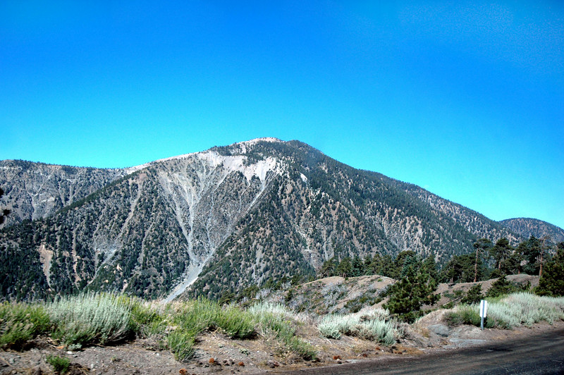 A view of Mount Baden-Powell from the Angeles Crest Highway.<br /> <br /> The plan for today is to do a hike from Dawson Saddle to Vincent Gap stopping at Throop Peak 9138', Mount Burnham 8997' and Mount Baden-Powell 9399' along the way. The infromation I had on the Cirrus crash site said it was near the summit of Mount Baden-Powell.
