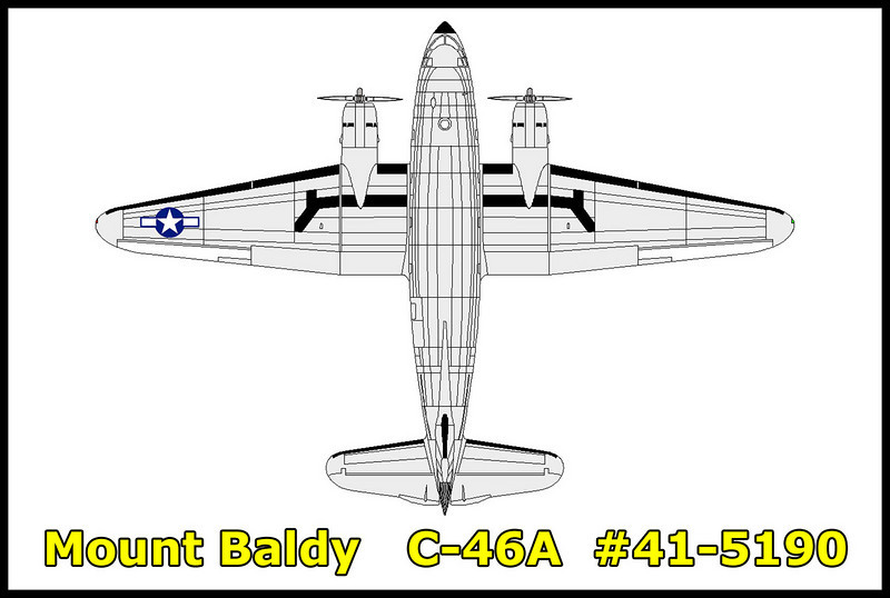 The Curtiss C-46A #41-5190 that I was searching for crashed on 10/5/45 hitting the peak of West Baldy. Some of the wreckage is located on the south slope of the mountain, but most is scattered down the steep north slope. Weather was a factor in this accident.