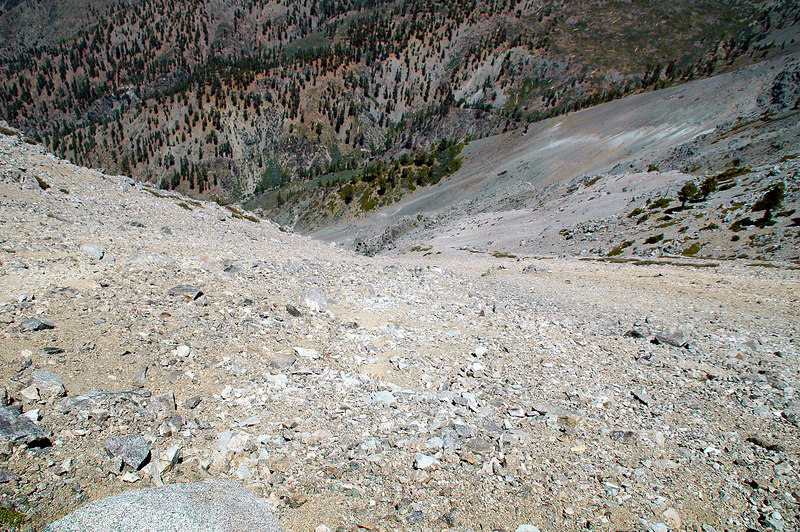 Looking down the slope.