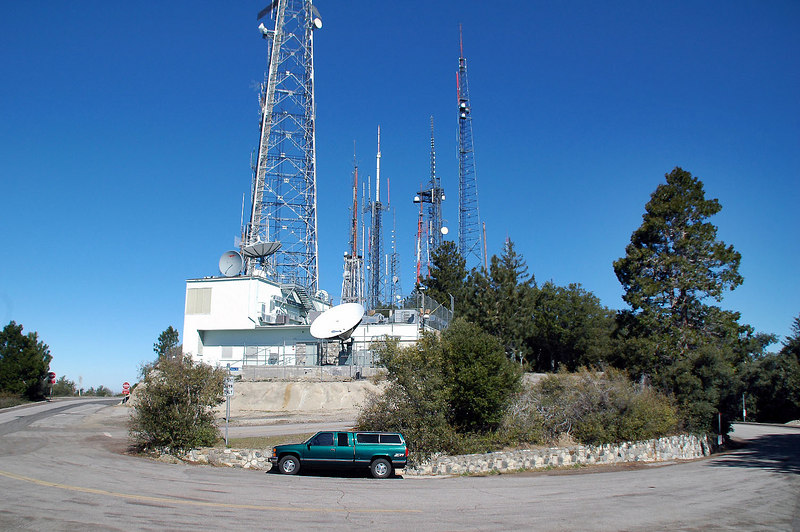 Looking back at some of the antennas as I start hiking. The tallest in this group is 400 feet tall.