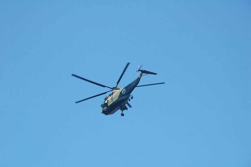 Air 5, the Sherff's rescue helicopter flew over. These guys help a lot of folks around here.
