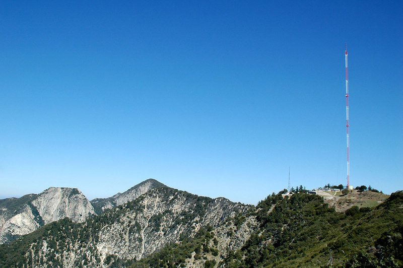 Looking west from the road to Mount Markham, San Gabriel Peak and the 970 foot tall KCBS-TV tower.