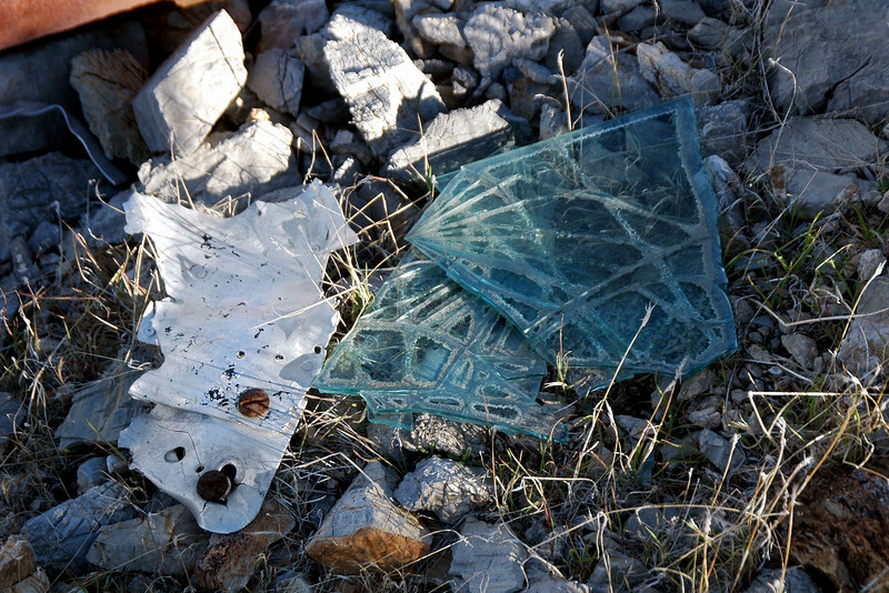 A couple of pieces of laminated glass.