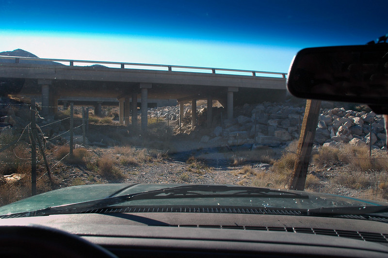 I knew the location of the crash site, but missed the road to it. After over shooting it, I used dirt roads to get back to the area then drove under the highway here to get to the strating point of the hike.