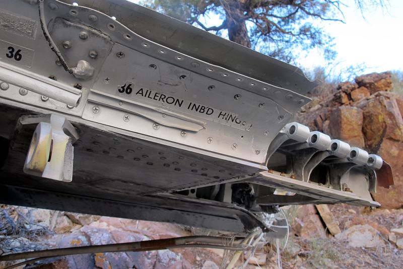 The wing was broken just past the inboard aileron hinge.