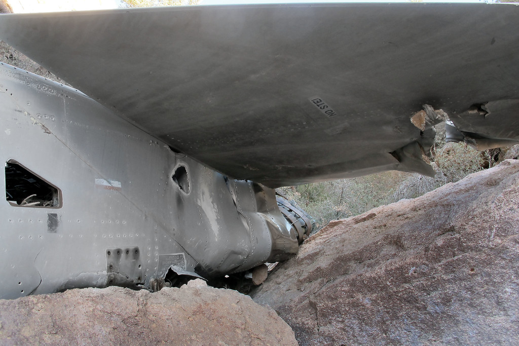View of the top side of the right tailplane.