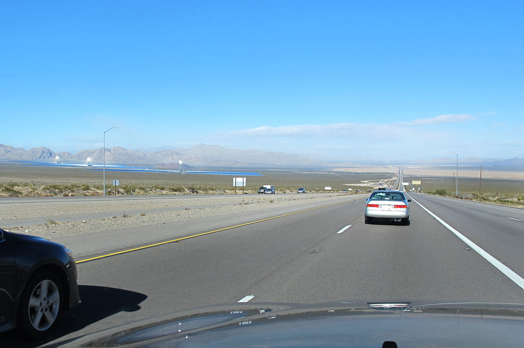 Passing the Ivanpah Solar Electric Generating System (AKA The Burner of Birds/Generator of Little Electricity) on the left which is the largest solar thermal power plant in the world as I approach the California/Nevada boarder.