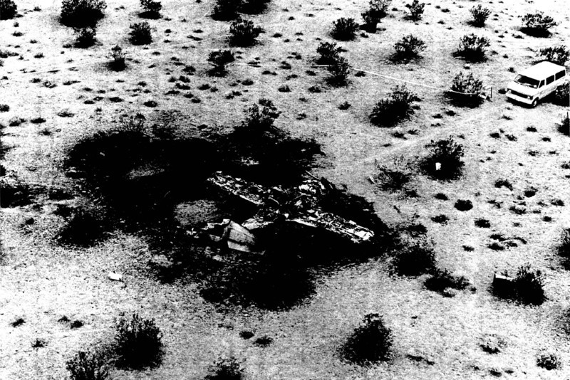 The next three photos were copied from the accident report. This one shows an overhead view of the T-37B wreckage and the burned area on the desert floor. The wreckage was contained in a small area with the pilot and ejection seat landing forty feet away from the aircraft, outside of the burn area.