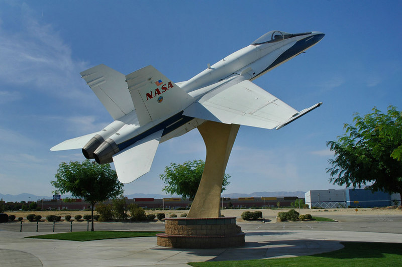 The Hornet was placed here on 3/4/97. This F/A-18A Hornet was delivered to NASA Dryden in August 1987 for use as a chase plane during research missions.