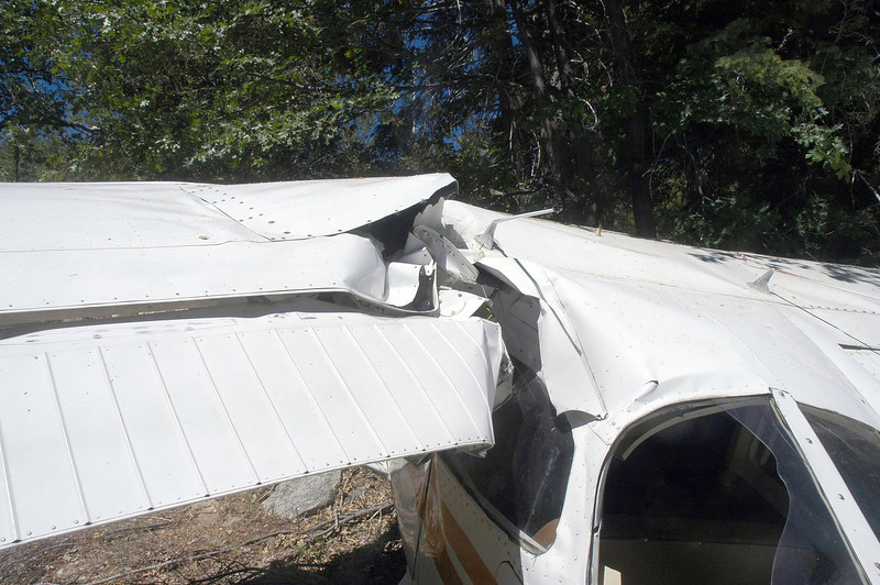 Top view of the damage caused by the wing being bent back.