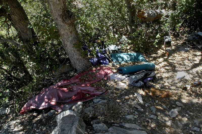 One of the sleeping bags and pads.