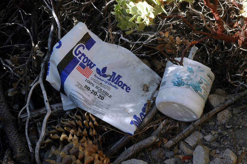 Found a few empty fertilizer bags and other stuff in the area.