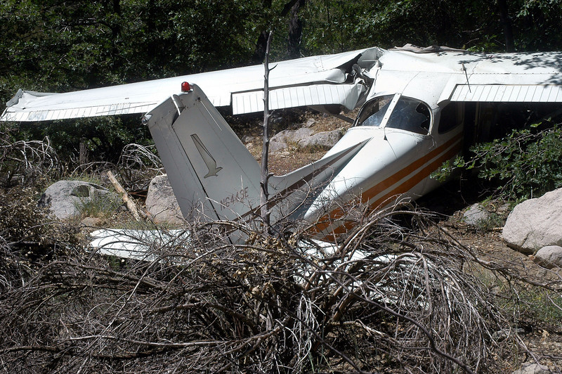 Another view of the damage to the left wing.