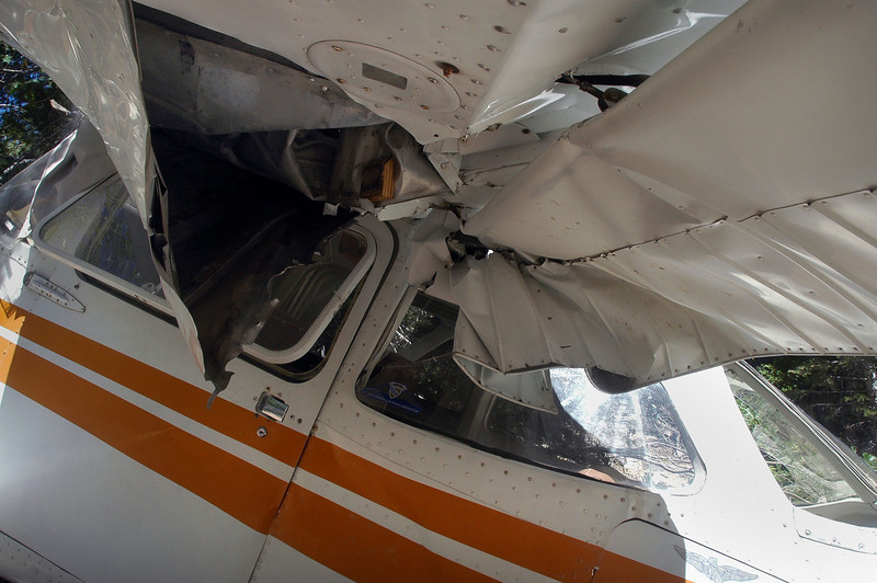 Damage to the wing and flap.