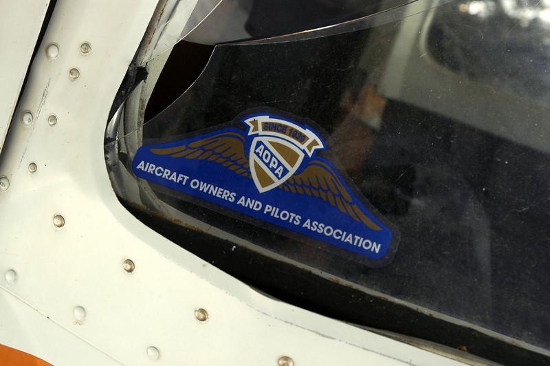 AOPA sticker in the back side widow.