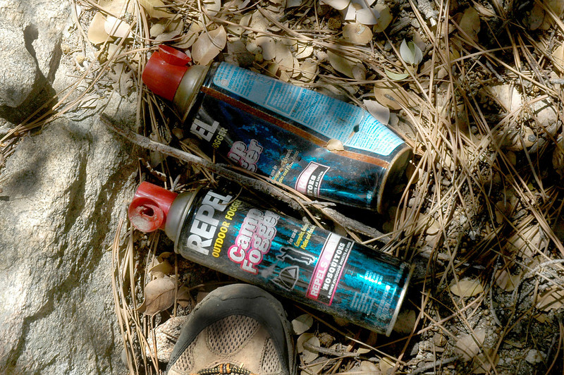 Pot farmers don't like mosquitos, found five of these at the camp. Glad that these people were gone, could have been bad if I hiked into their camp.<br /> <br /> A few days after I did the hike, I found a newspaper article from 8/15/09 about this pot farm. <br /> <br /> In a two day raid by a team of county sheriff's deputies, Forest Service officers and state and federal investigators. Arrested were five men who had created numerous campsites to tend to 10,000 plants in a 1 square-mile operation. The men, ranging from age 19 to 33, were armed with rifles and dressed in camouflage. The site had both marijuana plants and 60 pounds of dried buds, with an estimated value of $35 million, according to a sheriff's news release