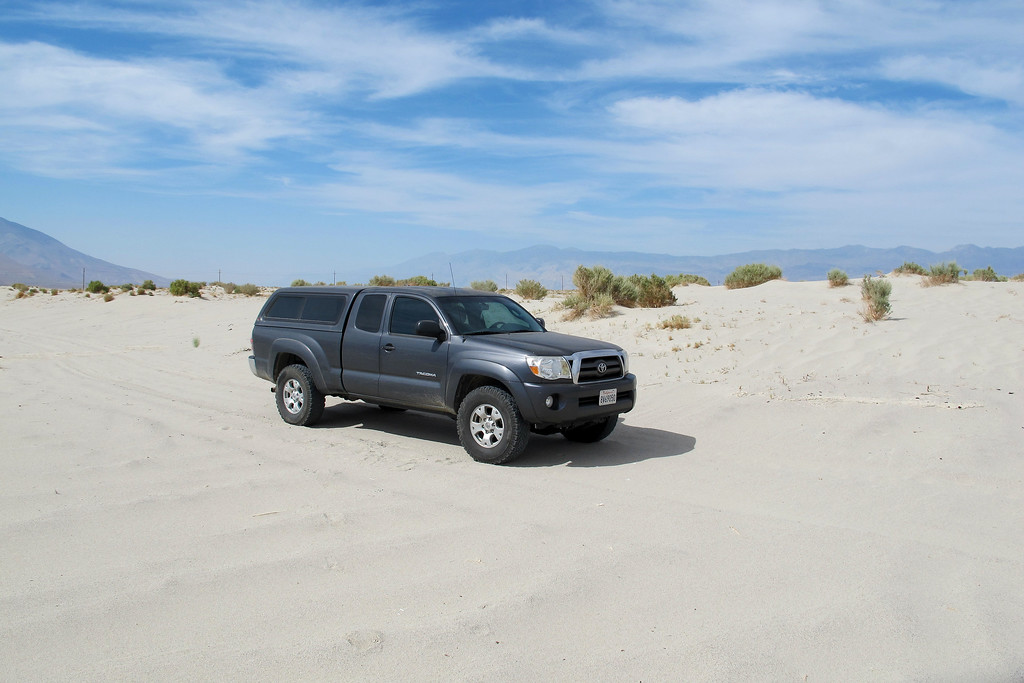This hike was on 4/11/09<br /> <br /> My truck parked a short way into the sand dunes. The sand was packed really good in this area, but I didn't want to risk getting stuck being that I was on my own.