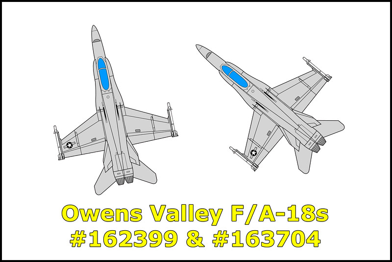 On May 8, 1989 two US Navy Hornets, the F/A-18A #162399 (Vandy 20) and F/A-18C #163704 (Vandy 11) from Test and Evaluation Squadron VX-4 Point Mugu Naval Air Station mid-aired at 21,700 feet MSL over the Owens Valley during air combat maneuvers. The F/A-18C sustained damage to the aft underside and nozzle area but was able to fly 45 miles south before the pilot Lt. Kenneth T. Houck ejected safely leaving his Hornet to impact into the sand dunes east of Olancha. The flight path makes it appear that he was attempting to make it to China Lake Naval Weapons Center, but wasn't able to. The F/A-18A received heavy damage to the nose section and dove into the Inyo Mountains northeast of Independence killing the pilot Lt. Cdr. John T. Ellis from the Royal Navy.