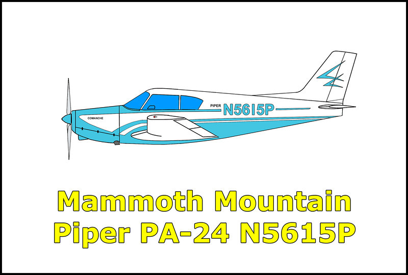 On 5/2/59 the Piper PA-24 Comanche N5615P crashed while on a flight to Fresno, California. The pilot and two passengers were returning from fishing trip, all three men onboard were killed in the accident. A search for the missing airplane was unsuccessful until 7/28/59 when a Civil Air Patrol pilot spotted the wreckage on Mammoth Mountain in the thick pine forest. Killed in the accident were, Kenneth Yerger, Howard Laurain, and Jack Howell.