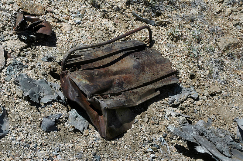 Same box turned over, one of the two folding handles is missing. I think that this might be an ammo box for one of the six 50 cals the A-20G was armed with.