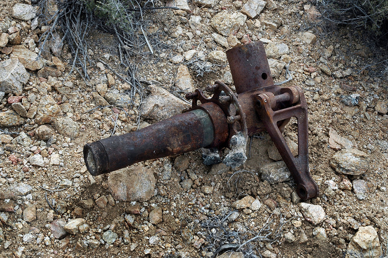 The axle from one of the main landing gears.