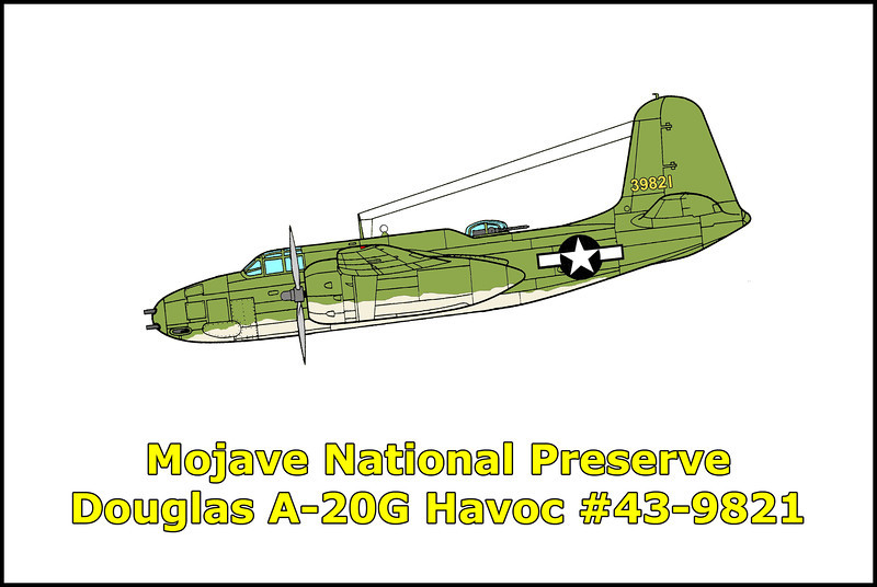 On 1/24/44 at 4:32pm the Douglas A-20G Havoc #43-9821 crashed onto a mountain slope in the Mojave National Preserve, California killing the pilot Capt. Bud A. Smilanich. The A-20G, which was one of four were on a ferry flight that took off from Daggett, California and were cleared to Las Vegas, Nevada.  The flight of A-20s encountered poor weather in the Silver Lake area and three turned back for Daggett. Capt. Smilanich's airplane didn't return to Daggett and never arrived at Las Vegas prompting a massive search effort. The weather conditions hampered the initial search, but the wreckage of the A-20G was eventually found two weeks later on 2/6/44. Investigators speculated that the pilot encountered instrument conditions and inadvertently flew into a mountainside about sixty feet from a ridge scattering wreckage over the top and down the other side. The pilot was the only person onboard at the time of the accident.