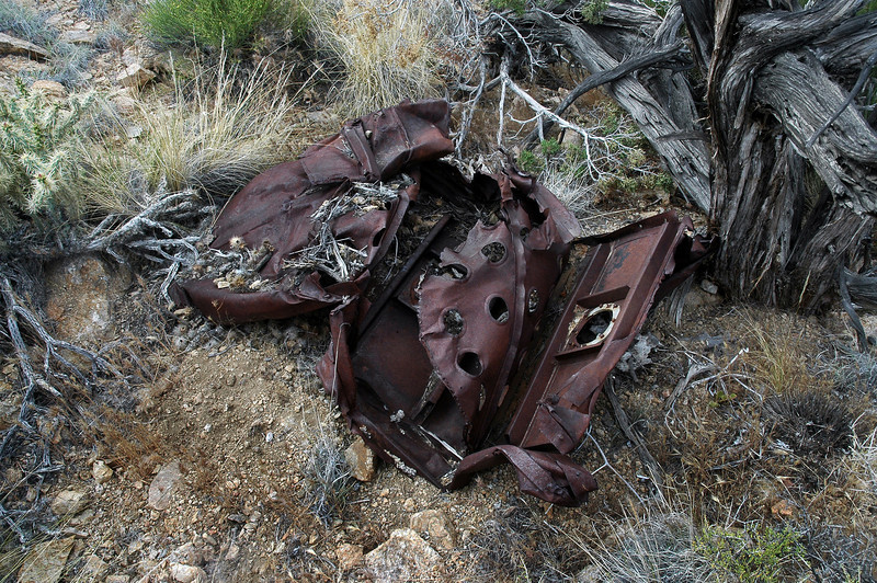 Looks like the remains of a fuel tank.