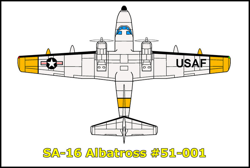 On 1/24/52, the SA-16 Albatross #51-001 was on a long range navigation flight from Mountain Home AFB near Boise, Idado to San Diego, California and back when it crashed in Death Valley in the Panamint Rage at the 6000' level after one of the engines failed. The six man crew was able to bailout safely.
