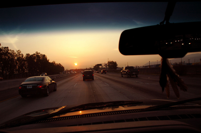 Sunrise on the I-10. Heading out to an aera southeast of Twentynine Palms.