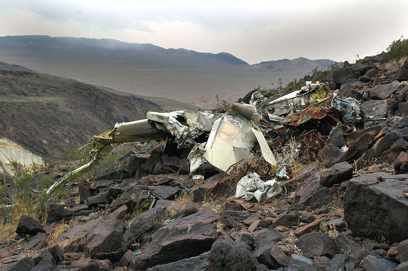 View of the wreckage from the memorial.