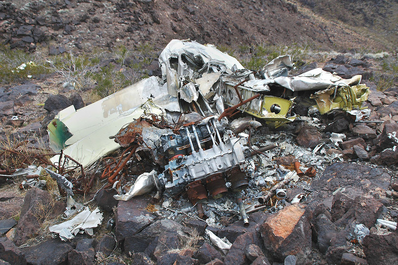 Looking down on the main wreckage. A majority of the fuselage was consumed by fire, but most of the wing, horizontal stab and the engine were here.