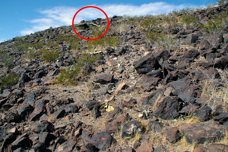 While climbing back up the slope, found the site of impact, clear area. The red circle is where the plane ended up after first hitting the area at the bottom of photo.