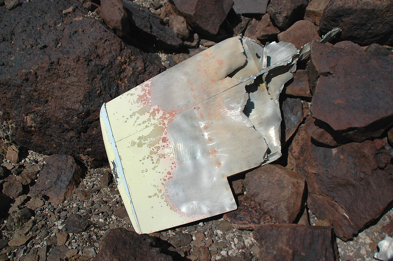 The right tip of the horizontal stabilizer showing the melted edges.
