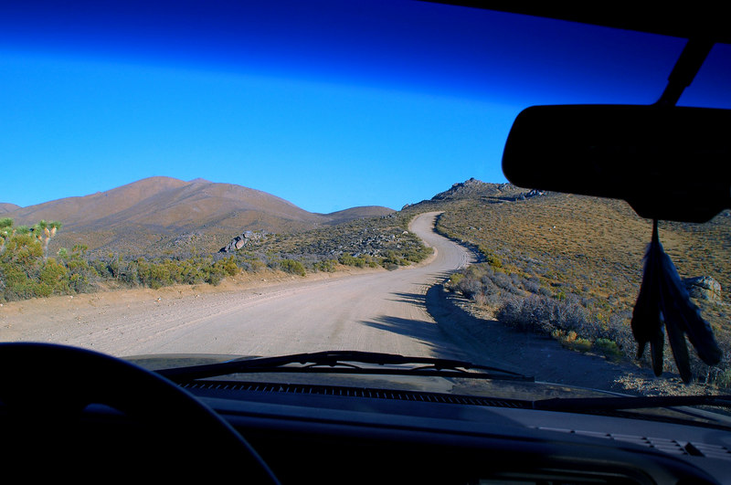 Driving on a dirt road headed for the Piute Mountains in the Sequoia National Forest.