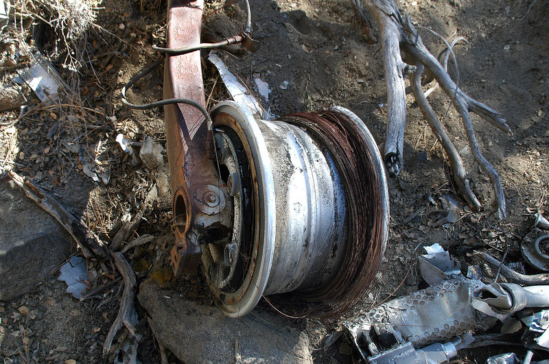 Looks like the tire burned off the wheel.