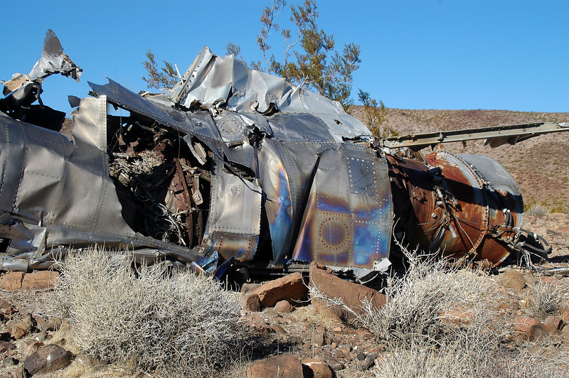 After looking at this wreckage for awhile, figured out that it was the total rear section of the fuselage.