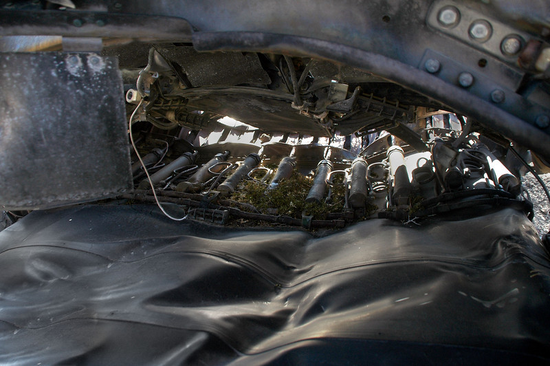 Looking towards the rear, some of actuators on the flattened variable nozzle can be seen.
