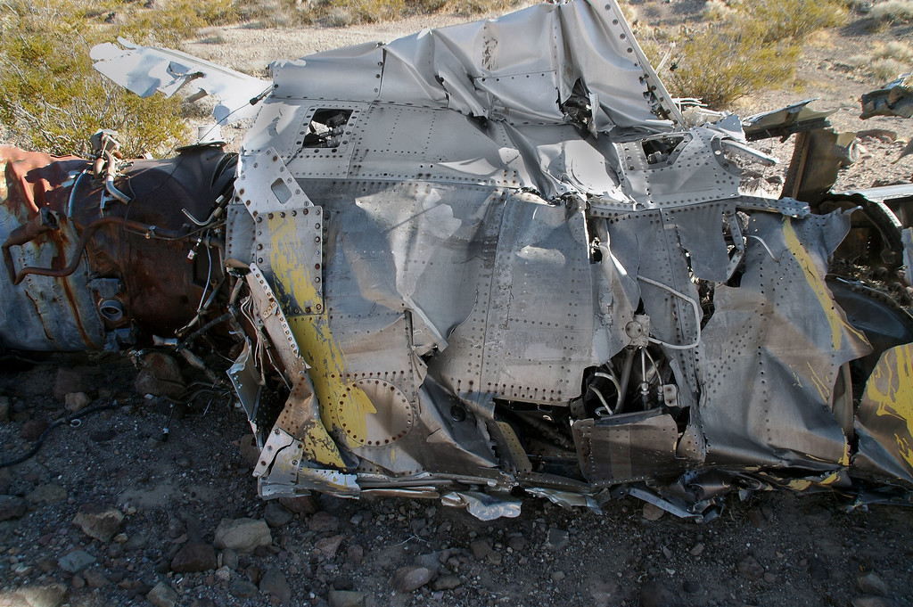 Some of the yellow paint that marked the wreckage as a known crash site can still be seen on this side of the fuselage.